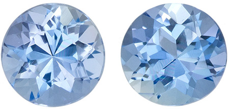 0.4 carats Aquamarine 2 Piece Matched Pair in Round Cut, Pure Blue, 4.8 mm