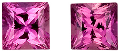 0.41 carats Pink Sapphire Loose Gemstone in Princess Cut, Rich Pink, 3.9 mm