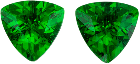 0.43 carats Tsavorite Well Matched Gem Pair in Trillion Cut, Vivid Rich Green, 4 mm