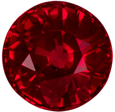 0.45 carats Ruby Loose Gemstone Round Cut, Rich Red, 4.3 mm