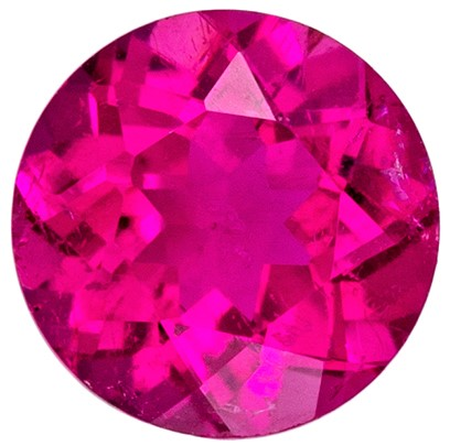 Genuine Rubellite Tourmaline Loose Gemstone, 0.47 carats, Round Cut, 5 mm , Super Fine Stone