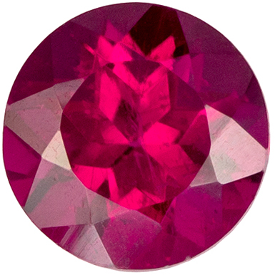 Fine Quality 0.48 carats Rubellite Tourmaline Round Genuine Gemstone, 5 mm