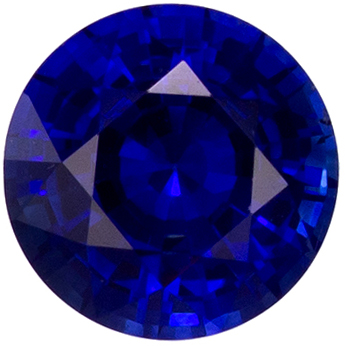 Loose 0.52 carat Blue Sapphire Gemstone in Round Cut 4.8 mm