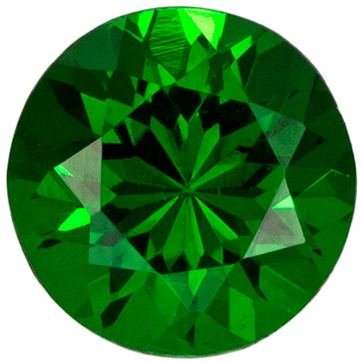 0.54 carats Tsavorite Loose Gemstone in Round Cut, Vivid Rich Green, 4.8 mm