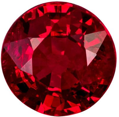 0.55 carats Very Bright Ruby Gemstone in Rich Red Color, 4.8 mm ROund Cut - SOLD