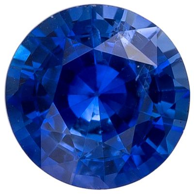 Excellent Blue Sapphire Genuine Loose Gemstone in Round Cut, 0.56 carats, Medium Rich Blue, 5 mm