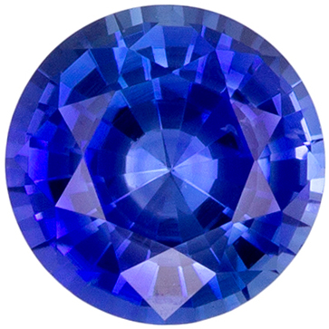 Genuine 0.57 carat Blue Sapphire Gemstone in Round Cut 4.9 mm