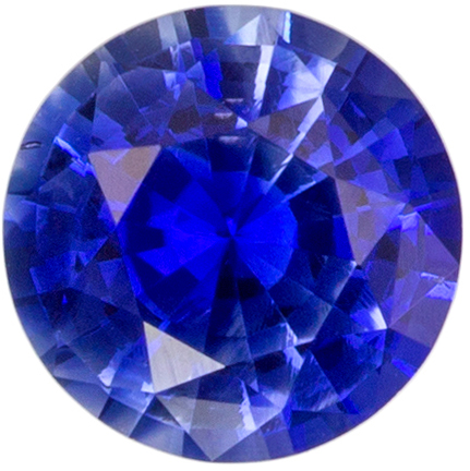 0.57 carats Blue Sapphire Loose Gemstone in Round Cut, Rich Blue, 5 mm