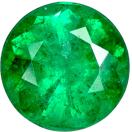 0.57 carats Emerald Loose Gemstone in Round Cut, Vivid Green, 5.3 mm