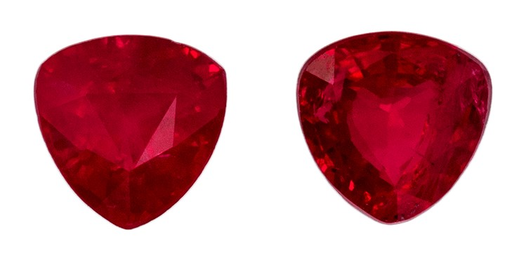 Loose Genuine Red Ruby Genuine Gemstones, 0.57 carats, Trillion Cut, 3.9 mm , Matching Pair