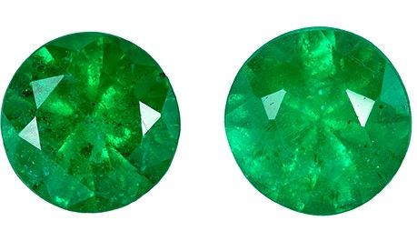 Heirloom Emerald Gemstone Pair, 0.59 carats, Round Cut, 4.5 mm, Low Priced Gems