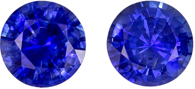 Fine Color Sapphire Gem Pair, 4 mm, Vivid Rich Blue, Round Cut, 0.61 carats