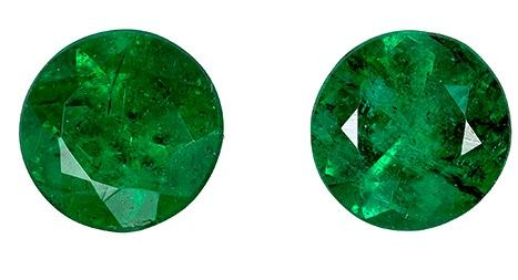 Quality Emerald Gemstones in Matched Pair, 0.61 carats, Round Cut, 4.4 mm, A Great Find!