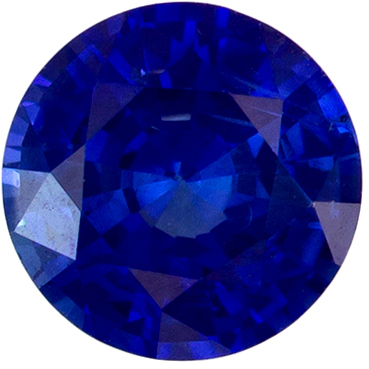 Faceted 0.63 carat Blue Sapphire Gemstone in Round Cut 5 mm