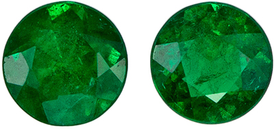 Wonderful Emerald Matched Pair, 4.5 mm, Vivid Green, Round Cut, 0.63 carats