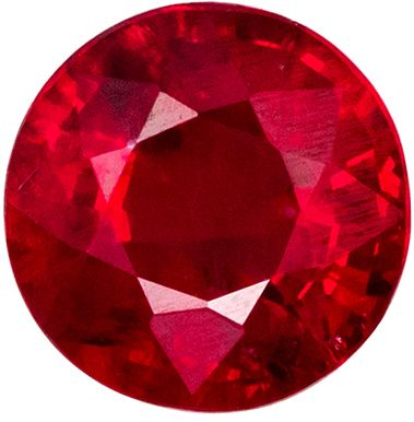 Pretty Gemstone Red Ruby Round Cut, 0.63 carats, 5.0 mm