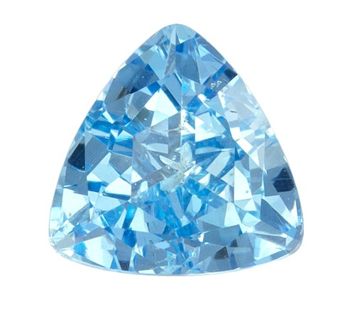 0.64 carats Aquamarine Loose Gemstone in Trillion Cut, Vivid Blue, 5.7 mm