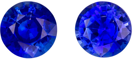 Fiery 0.65 carat Blue Sapphire Matched Pair of Gemstones in Round Cut 4 mm