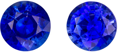 Fiery 0.65 carats Blue Sapphire Matched Pair of Gemstones in Round Cut 4 mm