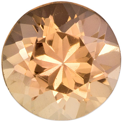 0.65 carats Precious Topaz Loose Gemstone in Round Cut, Peachy Golden, 5.3 mm