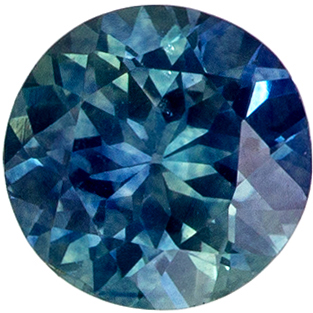 Must See 0.66 carats Blue Green Sapphire Round Genuine Gemstone, 5.1 mm