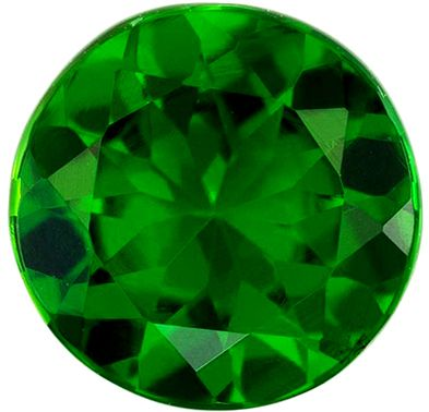 Highly Requested Chrome Tourmaline Genuine Loose Gemstone in Round Cut, 0.66 carats, Rich Grass Green, 5.9 mm