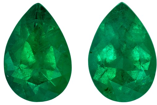 Loose Genuine Green Emerald Loose Stones, 0.66 carats, Pear Cut, 5.8 x 4  mm , Matching Pair