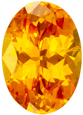 0.69 carats Yellow Sapphire Loose Gemstone in Oval Cut, Golden Yellow, 6.3 x 4.5 mm