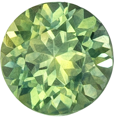 Very Pretty Sapphire Natural Gem, 5 mm, Medium Lime Green, Round Cut, 0.69 carats