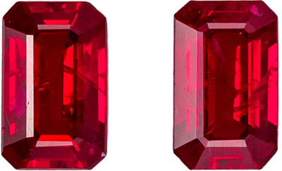 Beautiful Ruby Matched Pair, 5 x 3mm, Open Rich Red, Emerald Cut, 0.72 carats