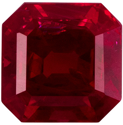 Beautiful Asscher Cut Loose Ruby, Vivid Red Color in 0.72 carat Size 4.7mm
