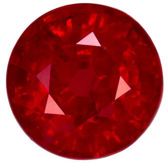0.75 carats Ruby Loose Gemstone in Round Cut, Vivid Red, 5 mm