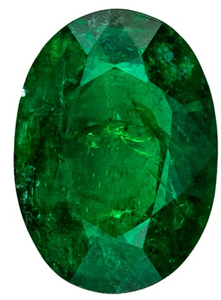 Genuine Green Emerald Genuine Stone, 0.75 carats, Oval Cut, 6.8 x 4.9  mm , Top Top Gem - Low Cost