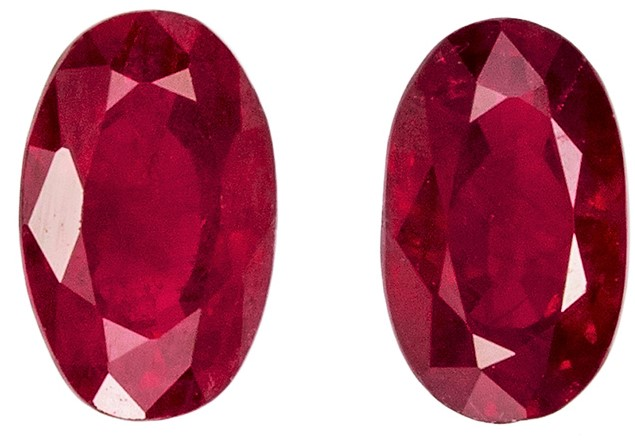 Matched Pair Great Buy in 0.76 carat Ruby Loose Gemstone in Oval Cut, Medium Red, 5 x 3 mm