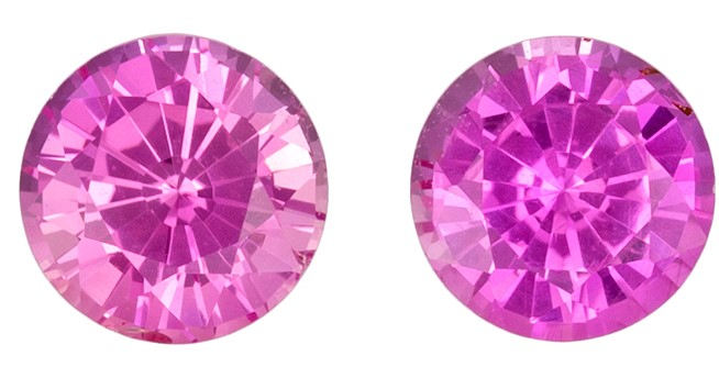 Faceted Pink Sapphire Gemstones, Round Cut, 0.76 carats, 4 mm Matching Pair, AfricaGems Certified - A Great Buy