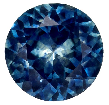 Fiery Stunning 5.5 mm Sapphire Genuine Gemstone in Round Cut, Blue Green, 0.77 carats