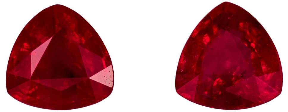 0.77 carats Ruby Matched Gemstone in Pair in Trillion Cut, Rich Red, 4.4 mm
