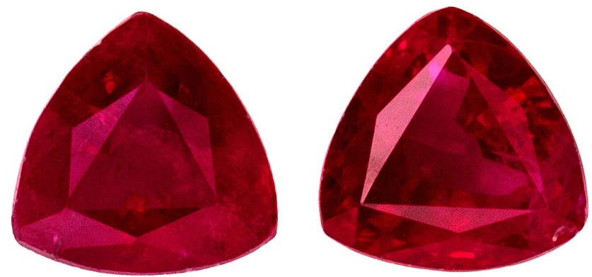 Great Buy in Matched Super 0.78 carat Ruby Trillion shaped gemstones, 4.10 mm