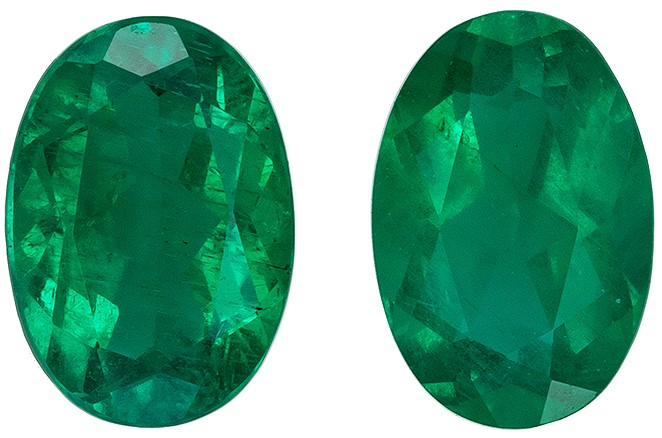 Terrific Buy on Green Emerald Gems, 0.79 carats, Oval Cut, 5.9 x 4  mm , Matching Pair, High Quality Gemstones