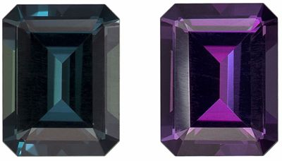 Classic 0.80 carat 100% Color Change Loose Alexandrite Gem, GIA Certified in Rare Emerald Shape