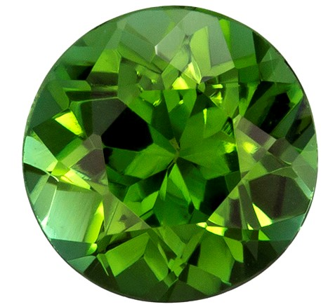 0.81 carats Green Tourmaline Loose Gemstone in Round Cut, Vivid Grass Green, 5.9 mm
