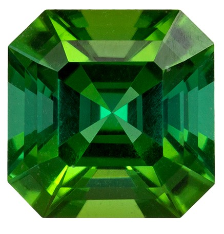 0.81 carats Green Tourmaline Loose Gemstone in Square Cut, Vivid Grass Green, 5.4 mm