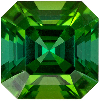 So Gorgeous Teal Green 0.81 carat Green Tourmaline in Asscher Cut, 5.4mm