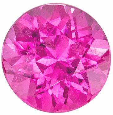 Beautiful Pink Tourmaline Genuine Gem 0.81 carats, Round Cut, Medium Hot Pink, 5.9 mm
