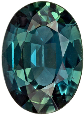 Very Desirable Sapphire Loose Gem, 7 x 5mm, Teal Blue Green, Oval Cut, 0.82 carats