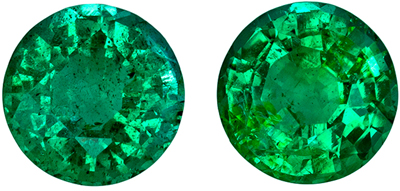 Excellent Emerald Gem Pair, 0.82 carats, Vivid Rich Green, Round Cut, 4.8 mm