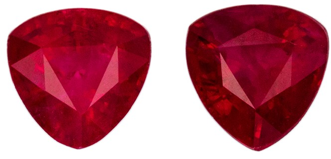 Great Deal on Red Ruby Loose Stones, 0.83 carats, Trillion Cut, 4.3 mm , Matching Pair