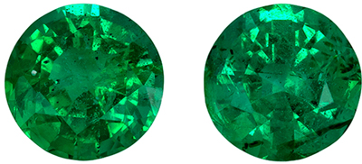 Beautiful Emerald Matched Pair, 4.8 mm, Medium Rich Green, Round Cut, 0.84 carats