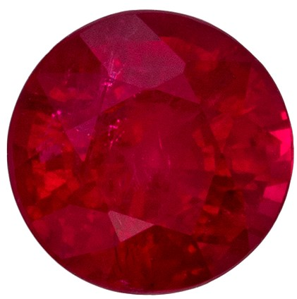 Natural Red Ruby Genuine Gem, 0.84 carats, Round Cut, 5.4 mm , Must See This Gemstone