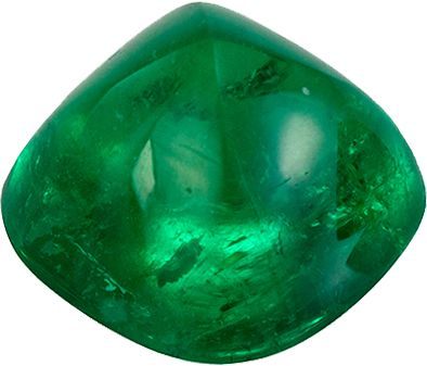 Very Special 0.85 carats Green Emerald Cabochon Genuine Gemstone, 5.6 mm